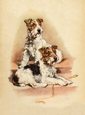WIRE FOX TERRIER CHARMING DOG GREETINGS NOTE CARD TWO DOGS SIT ON STEPS