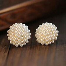 Fashion Womens White Beads Pearl Gold Plated Earrings Ear Studs Piercing Jewelry