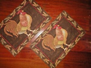 BETTER HOMES & GARDENS ROOSTERS BROWN RED GOLD (2) PLACEMATS 18 X 11 COUNTRY