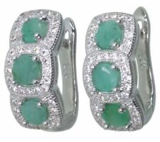 Emerald Cubic Zirconia Sterling Silver Fine Earrings