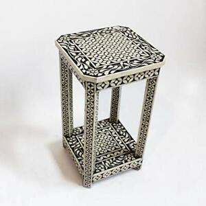 Neu Handgemacht Knochen Inlay Beistelltisch - Weiß Schwarz Blumenmuster Möbel