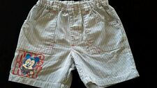 DISNEY MICKEY MOUSE toddler baby boy short striped cotton size s applique adjust