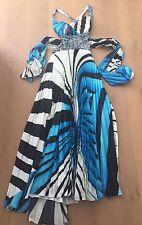 BLACK WHITE & BLUE PRINT & SEQUIN FORMAL DRESS SZ. XS