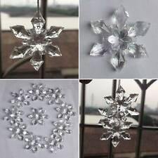 10pcs Crystal Christmas Snowflakes Ornaments Xmas Tree Hanging Party Decor New