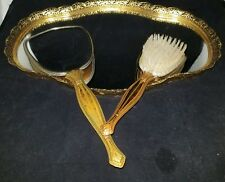 ANTIQUE VICTORIAN AGE PRINCESS VANITY SET MIRROR TRAY, HAND MIRROR, AND BRUSH