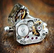 SILVER Movimento Orologio Steampunk Gemelli Gemelli vintage matrimonio regalo uomo
