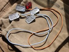 US Army WW2 Repro American Military Dog Tags Rayon Necklace Cord Chain Infantry
