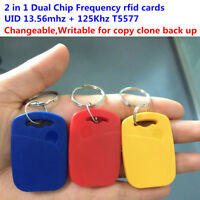RFID 13.56mhz 1K UID Changeable&T5577 125khz dual chip frequency IC/ID key tag