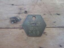 Vintage Brass Aviation Slick Burbank Hexagonal Work Token