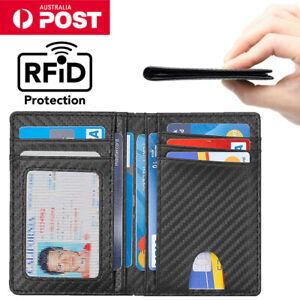 Mens Credit Card Drive Licens Holder Carbon Fiber RFID Blocking Slim Wallet AU