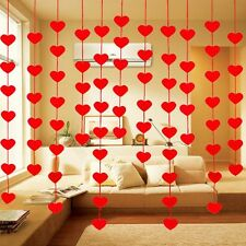Sweet String Curtain Red Heart Drape Panel DIY Hangings Divider Wedding Ornament