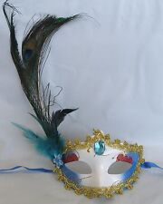 Gold Red & Blue Masquerade Mask With Peacock Feathers - Blue Centre & Flower