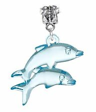 Oversized Dolphins Light Blue Lucite Beach Sea Life Dangle Charm for Bracelets