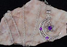 Tibetan Silver Filigree Crescent Moon Purple Diamante Star Necklace.Handmade