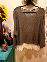 Boutique Long Sleeve Knit Lace Hem Sweater Boho Top Women's Gray Plus Size 1X XL