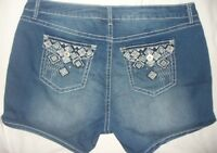 SHORTS 24 Jean Denim Rhinestone Embellished Embroidered Stretch Plus Size NWT
