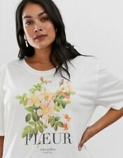 Neon Rose Top T Shirt Tee Size 18 Fleur Graphic Print Relaxed Fit Cream Tee EY04