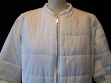 Liz Claiborne Woman's White Bomber Jacket Coat Large Puffer Puff Winter