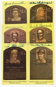 Baseball Hall of Famers - 6 Autographed HOF Plaques w/ Ferrell, Snider, Herman