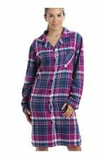 Camille Womens Navy & Pink Checkered Long Sleeve Button Front Nightshirt