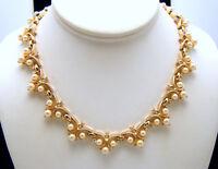 Vintage Crown Trifari Necklace Faux Pearl Rhinestone Gold Tone Elegant Design