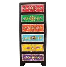 Home And Bazaar Traditional Wooden Antique Hand Painted 6 Drawer Chest