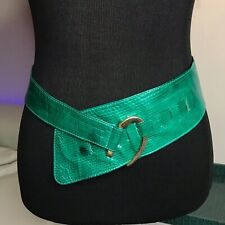 Vtg Lizard Skin Obi Belt Wide Sash Waist Cinch V Taper M 28-34� Green Leather