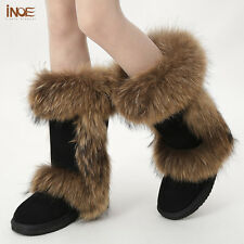 INOE natural fox fur winter snow boots for women suede leather winter shoes flat