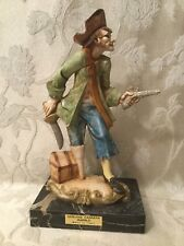 VINTAGE PIRATE FIGURINE ON GENUINE CARRARA MARBLE, Made in Italy