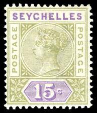 Seychelles 1893 QV 15c sage-green & lilac very fine mint. SG 24. Sc 10.