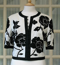 New Jaeger Black & White Jacket Size 14 EU 40 Linen Floral
