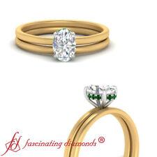 .75 Carat Oval Shape Diamond And Emerald Gemstone Two Tone Gold Halo Wedding Set