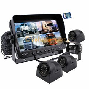 """9"""" Split Screen Monitor DVR 4 x Backup Camera & Side Camera for Truck Trailer RV"""