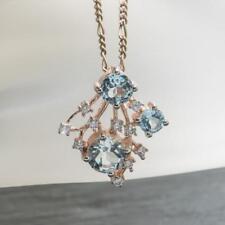 Natural .82ctw Topaz & Diamond Cut White Sapphire 925 Silver Pendant