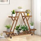Tier Wood Plant Stand Stable Triangular Flower Rack Corner Ladder Garden Shelf