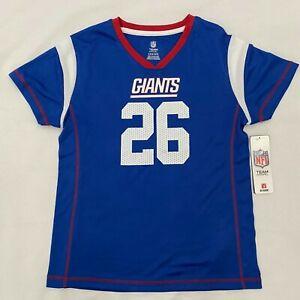 NY New York Giants NFL #26 Barkley Girl's Blue Sparkle Jersey Large 10/12