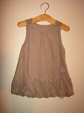 MOTHERCARE BABY 9-12 months NEEDLE CORD CORDUROY PUFF BALL DRESS BROWN TAN