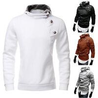 Men Hooded Sweatshirt Winter Hoodie Sweater Button Pullover Jacket Outwear