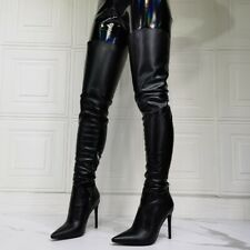 Women's Thigh High Boot Pointy Toe High Heels Sexy Side Zip Clubwear Party Shoes