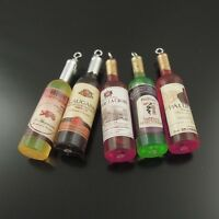 20X Assorted Color Wine Bottle Pendant Charms Findings 46*12*12mm