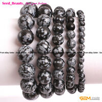"""Natural Snowflake Obsidian Stone Beads Healing Elastic Bracelet 7"""" with Gift Box"""