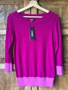 DKNY Color Block Fuchsia/Purples Sweater Sz P.