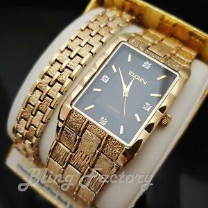 Men Elgin Luxury Gold Tone Bling Lab Diamond Stainless Steel Watch & Bracelet