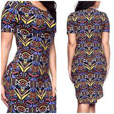 Plus Sz Tribal Aztec African Print Ankara Jersey T-Shirt hi-Lo Midi Dress XL