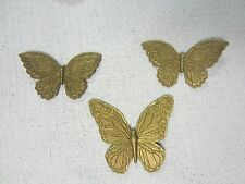Set Of 3~1971 Homco~Wall Decor~Butterflies~Gold