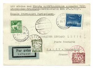 SWEDEN: Airmail cover Stockholm to Paris vis Berlin 1930. Arr.canc. Postage due.