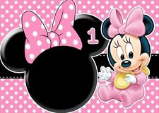 1/4 Sheet Cake Frosting BABY MINNIE MOUSE First Edible Birthday Topper