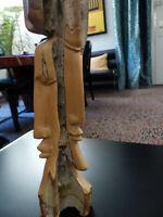 """Skulptur """"Drei Gesichter"""", afrikanische Holzarbeit, Handarbeit aus einem Stück H"""