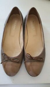 Milana Taupe Nude Leather and Patent Ballet Flats/Shoes Size 40