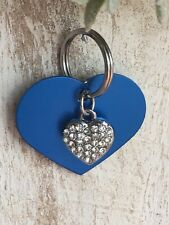 Personalized PET ID TAGS  ENGRAVED DOG CAT NAME TAG Blue Heart W/ Bling Heart